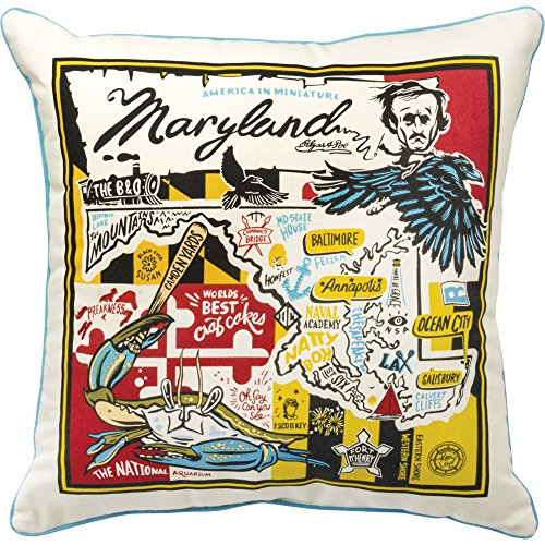 Primitives by Kathy Home State Super Maryland Cotton Decorative Throw Pillow, 20-Inch Square,