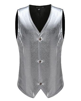 75544613e361 ShiFan Homme Mince Col V Élégant Sans Manche Gentilhomme Gilet Costume  Argenté XL