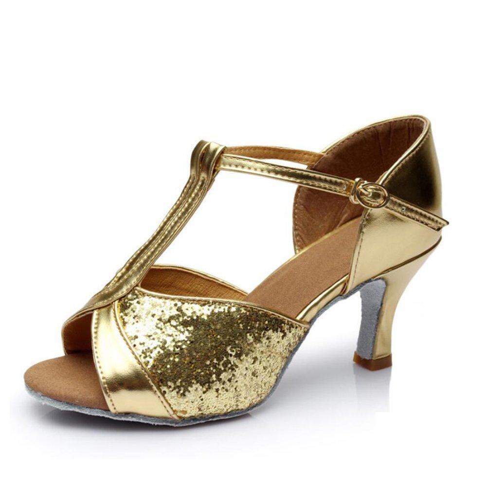Onfly New Damen Latein Schuhe/Ballroom Schuhe Satin Sandale Indoor Schnalle Ferse Tanzschuhe Braun/Gold/Fuchsia Party  Abend eu size  B