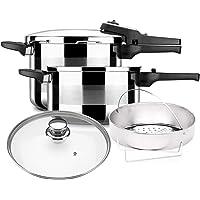 Olla a presión ALZA TITAN PLUS. Pack Exclusivo, Olla express acero Inoxidable + Tapa de cristal + cestillo perforado, apta para tipo de cocinas…