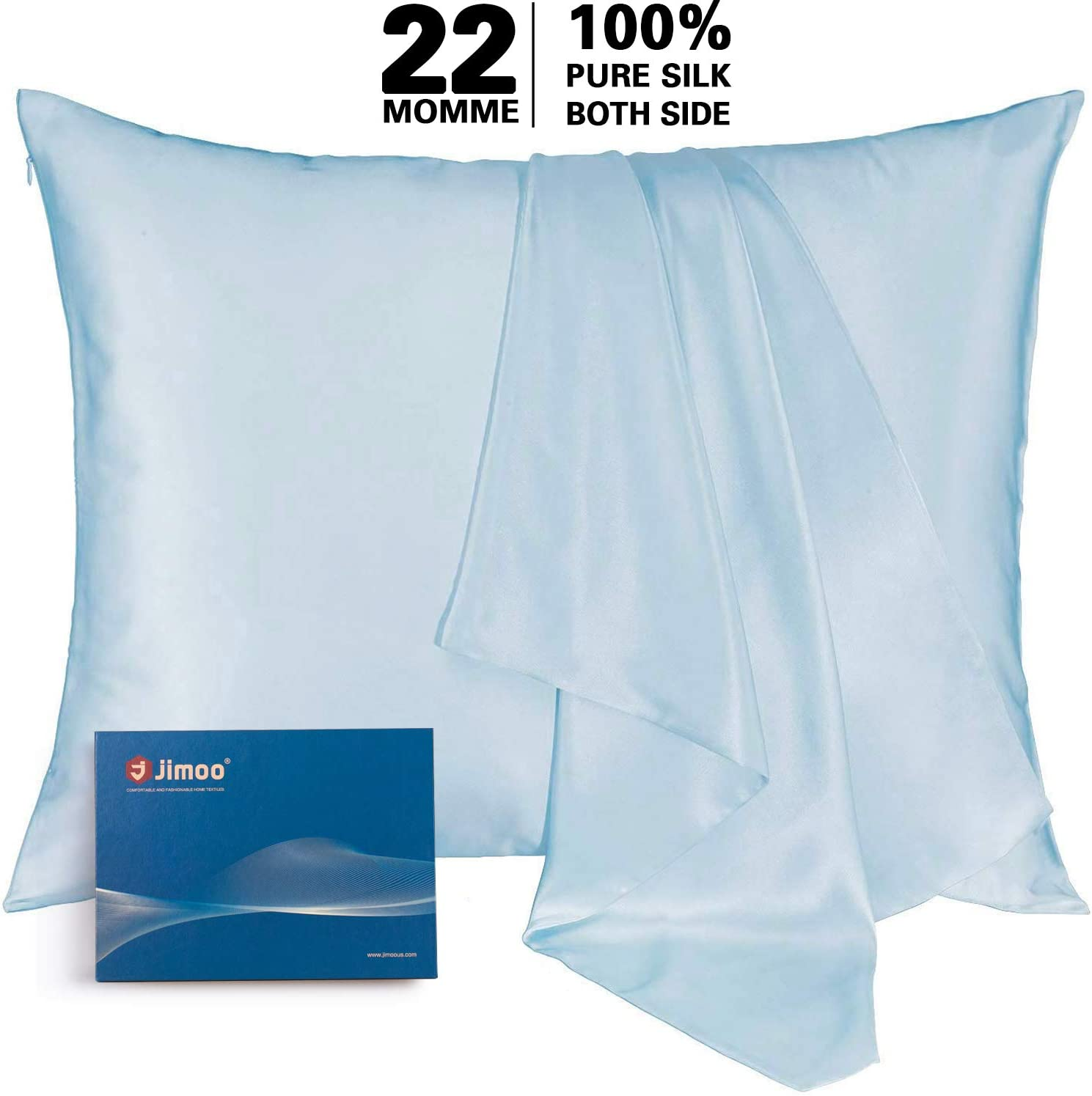 Natural Silk Pillowcase, for Hair and Skin with Hidden Zipper,22 Momme,600 Thread Count 100% Mulberry Silk, Soft Breathable Smooth Both Sided Silk Pillow Cover(Light Blue, King 20''×36'',1pcs)
