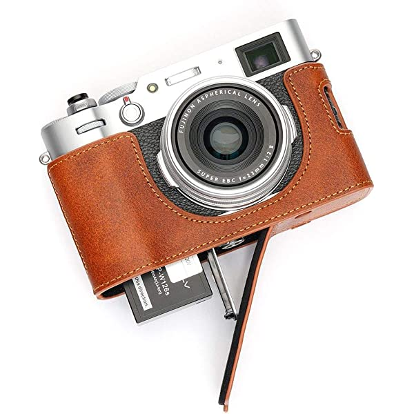 Brown Handmade Genuine real Leather Half Camera Case bag cover for FUJIFILM X-70 Fuji X Series X70 X-70 Bottom opening Version