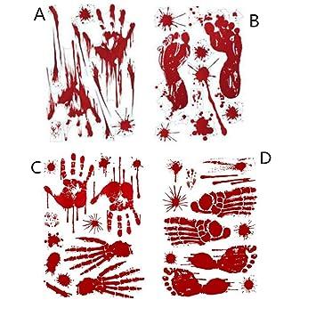 Floor Stickers 12 Sheets Halloween Blood Footprint Handprint Wall Stickers Vampire Party Decorations