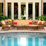 Cheap Lakeview Outdoor Designs Everglades 7 Person Resin Wicker Patio Deep Seating Set, Honey