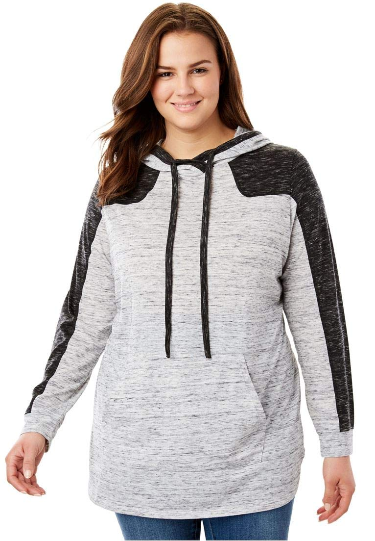 Woman Within Women's Plus Size Marled Colorblock Hoodie