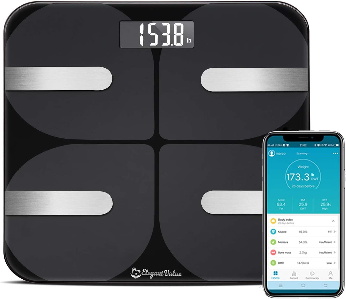 Smart Premium Body Fat Scale – 18 Measurements, Weight Loss Tracking & Watcher Device, Accurate Body Composition Monitor & Analyzer, Protein Muscle Bone Mass Caliper w/Bluetooth Android & iPhone App