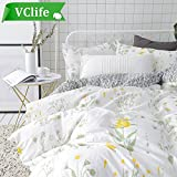 yellow bedding full - VClife Floral Duvet Cover Sets Full Queen Bedding Sets White Yellow Flower Branches Design Bedding Duvet Cover Sets Cotton Comforter Cover Sets for All Season Queen