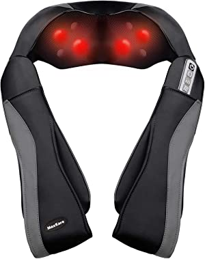MaxKare Shiatsu Neck Shoulder Massager Electric Back Massage with Heat Kneading Massage for Shoulder, Legs, Use in Office and Home