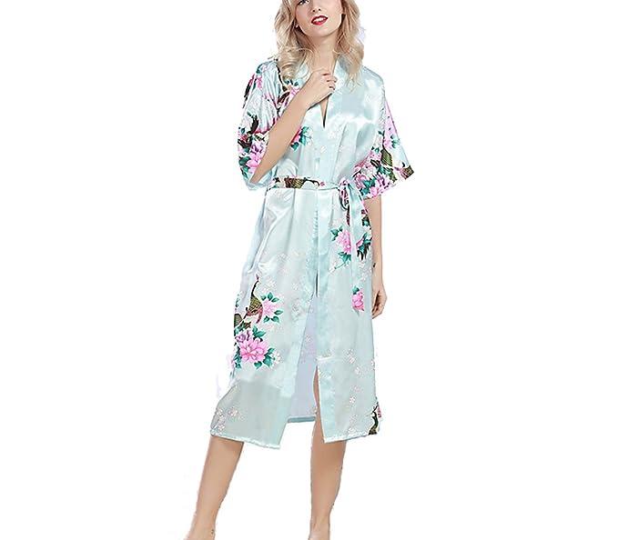TieNEW Mujer Hombre Vestido Kimono Satén, Camisón para mujer, Lujoso Robe Albornoz Dama de