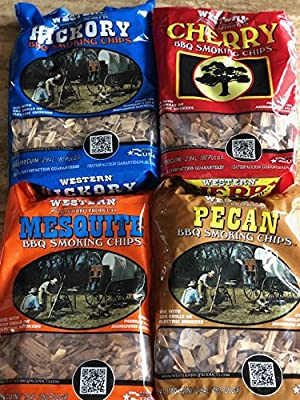 Western BBQ Smoking Wood Chips Variety Pack Bundle (4) Cherry, Hickory, Mesquite and Pecan Flavors from Western