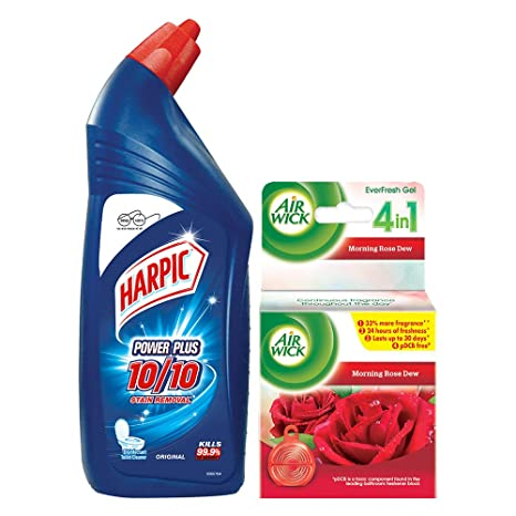 Harpic Household Combo (Harpic - 1 L (Original), Airwick Ever Fresh Gel - 50 g (Rose))