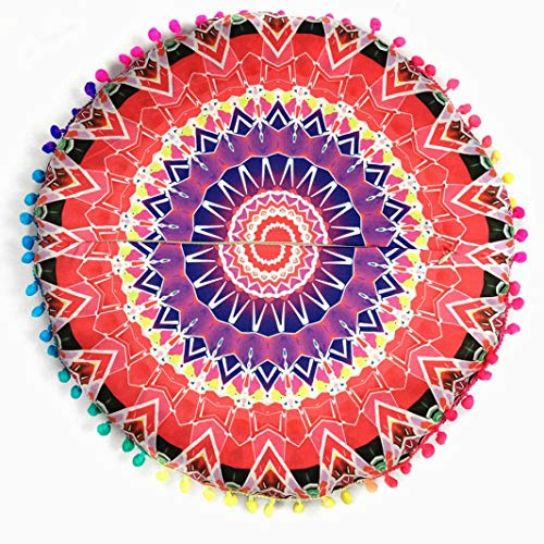 Indian Mandala Floor Pillows Round Bohemian Cushion Cushions Pillows Cover Case Meditation Ottoman Pouf Cover Comfortable Home Car Bed Sofa (Red)]()