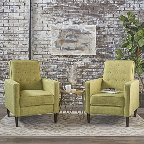 Christopher Knight Home 301376 Mason Mid-Century Modern Tuft Back Recliner (Qty of 2, Fabric/Muted Green), Dark ()