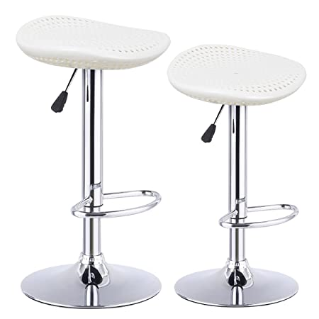 COSTWAY Bar Stool, Adjustable Swivel ABS Material Sturdy Seat Pub Air Lift Barstools Set of 2 White