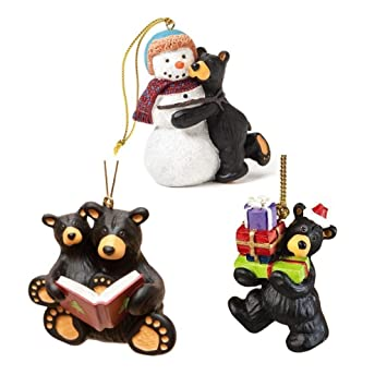bearfoots black bear 3 christmas ornaments set snowman christmas story and buying gifts