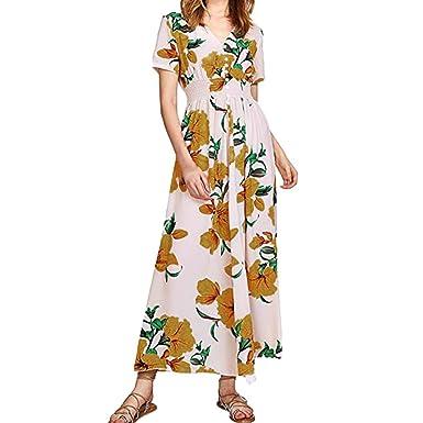 555792e82cd358 kingko Damen Bodenlanges Kleid Langes Jersey Maxikleid Kleider Damen Blumen  Kleid Elegant Langarm Maxikleid Floral Print