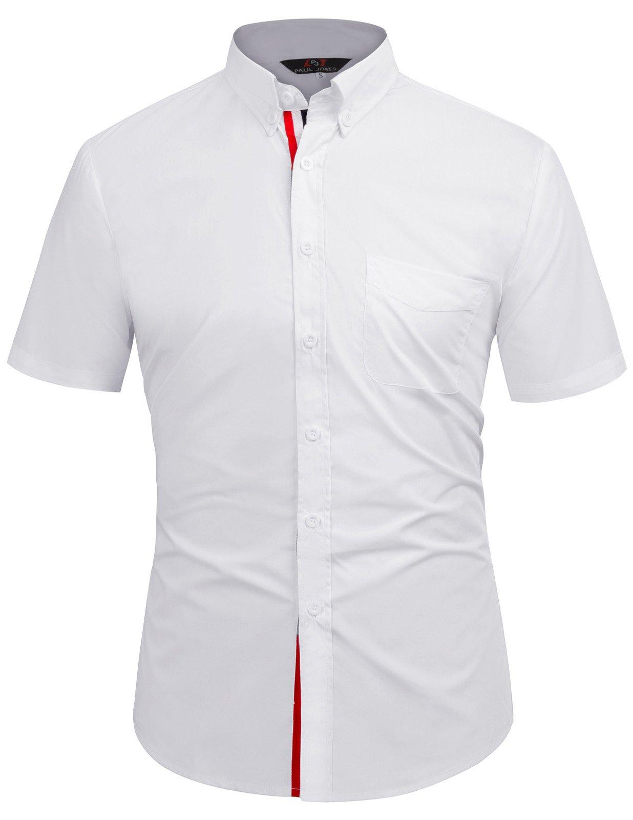 Men's Slim Business Shirts Botton Down KL-3,White,Medium