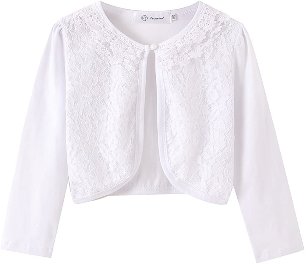 ZHUANNIAN Girls Long Sleeve Lace Bolero Cardigan Shrug