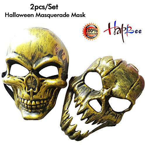Happlee 2pcs/Set Halloween Masquerade Mask, Human skeleton Mask with Elastic (Head Halloween Prop)