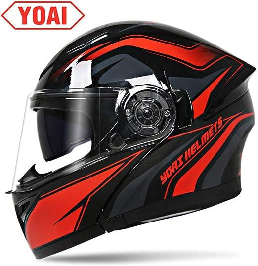 YOAI Casco De Moto Modular Doble Visera Rojo Negro Casco De Moto Mujer Modular M-XXL 54-61cm Cascos Integrales De Moto Casco De Moto Hombre Casco De Motocross,Black Red A-XL(58-59cm): Amazon.es: Hogar