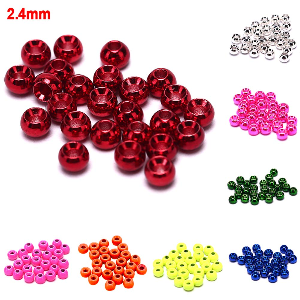 Fly Tying Beads Material Fishing Accessories 25 Pcs//Pack 2.4mm Outdoor Fly Tying Beads Round Nymph Head Ball