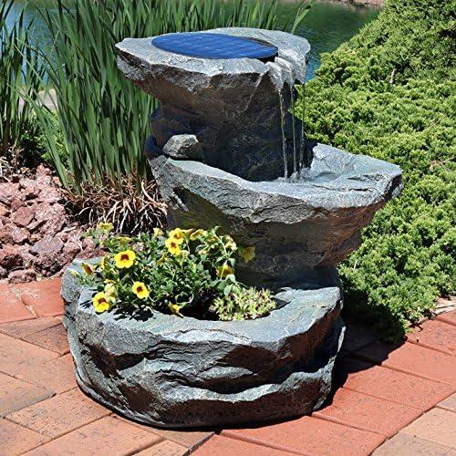Sunnydaze Fuente de Agua Solar para jardín al Aire Libre con Maceta, 19 Pulgadas, Incluye Bomba Solar y Panel: Amazon.es: Jardín
