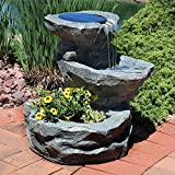 Sunnydaze Solar Garden Outdoor Water Fountain with Planter, 19 Inches, Includes Solar Pump and Panel