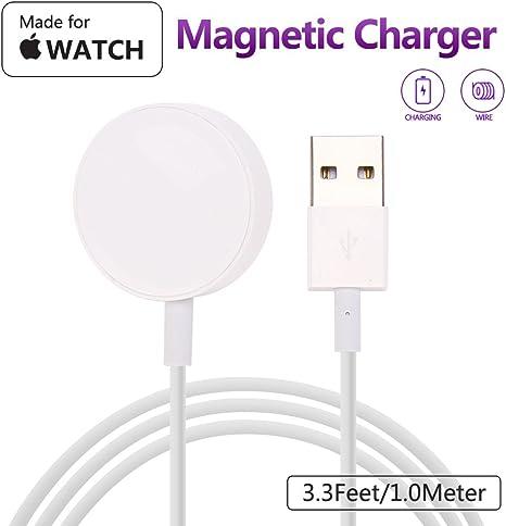 MASOMRUM Chargeur pour Apple Watch 2.8 cm de diamètre, 1.0m Chargeur sans Fil Portable pour iWatch, Chargeur pour AP Watch 12345 Nike +