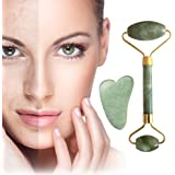 Jade Roller for Face and Gua Sha Scraping Massager Set, BetterJonny Natural Jade Stone Roller Skin Care Gua Sha Scraping Massage Tool for Eyes Neck Body Wrinkles Puffiness