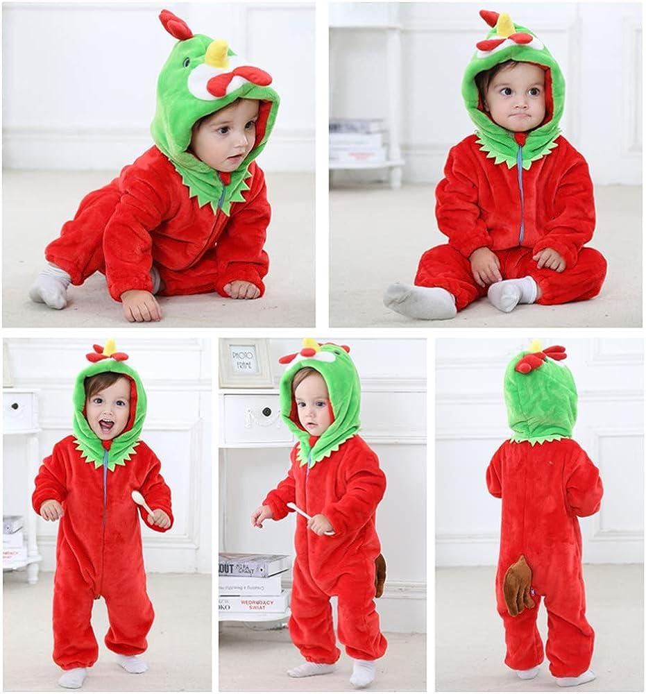 BaronHong Unisex-Baby Flanell Strampelanzug Cartoon Tier Onesie Pyjamas Outfits Anzug