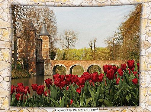 departamento Decoración de Vellón Manta Tulipanes y puente de piedra en el jardín castillo histórico de Groot bijgaarden...