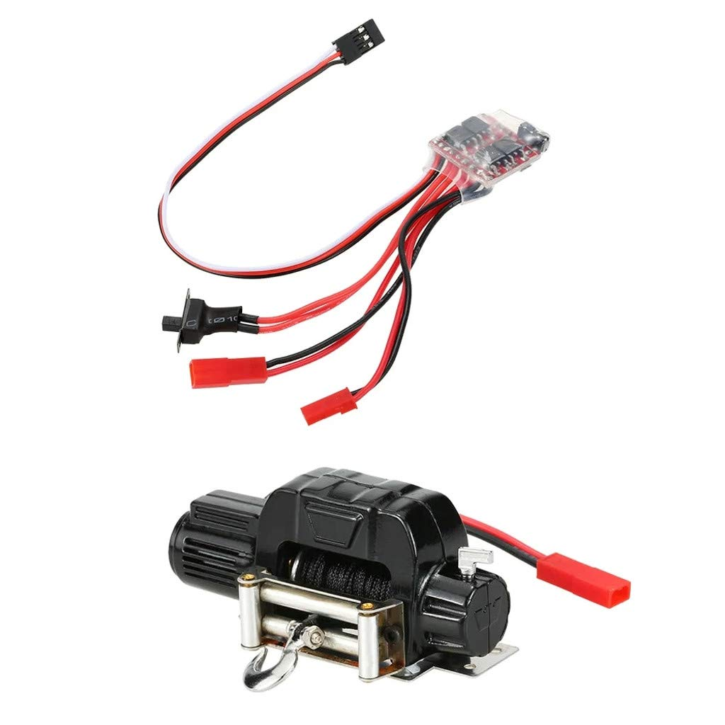 Hisoul 1/10 Electric Automatic Crawler Winch and 30A Brushed ESC Switch Controller - 3 Channels or 4 Channels RC Car - for RC 1/10 Axial SCX10 AX10 Tamiya (Black)