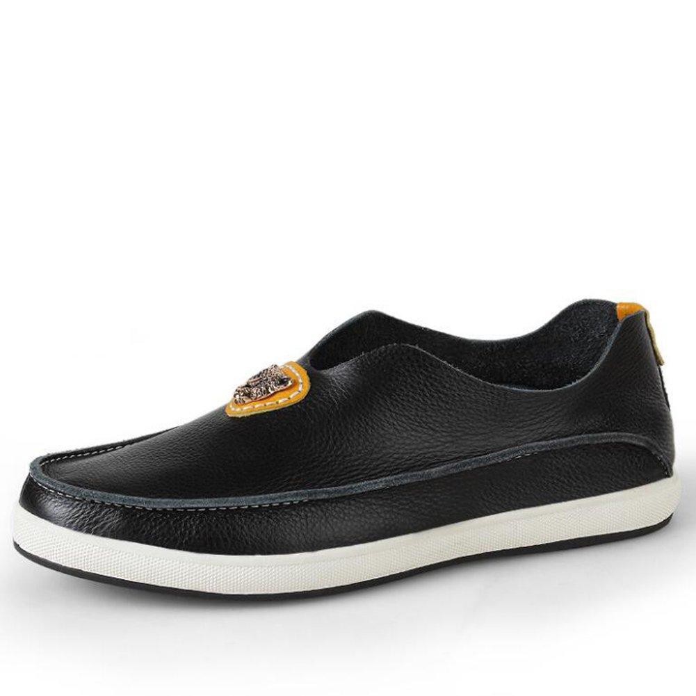 CAI Herrenschuhe 2018 Sommer Sommer Sommer Breathable Leder Herren Schuhe British LUN Freizeitschuhe Herren Erbsen Schuhe Fahren Schuhe (Farbe   Schwarz, Größe   44) d9106e