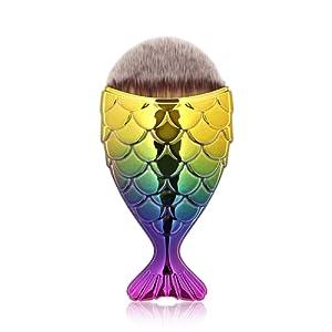 NEEDOON Pinceau de maquillage, sirène poissons échelle Design visage en y poudre libre Blush crème anticernes Fondation pinceau maquillage outil Pinceau