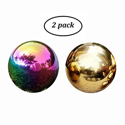 PengKing Gazing Globe Ball - 3/4/5/6In Stainless Steel Gazing Ball, Rainbow Shiny Ball, Gold Gazing Ball for Garden and Yard, Pack of 2 (4in): Kitchen & Dining