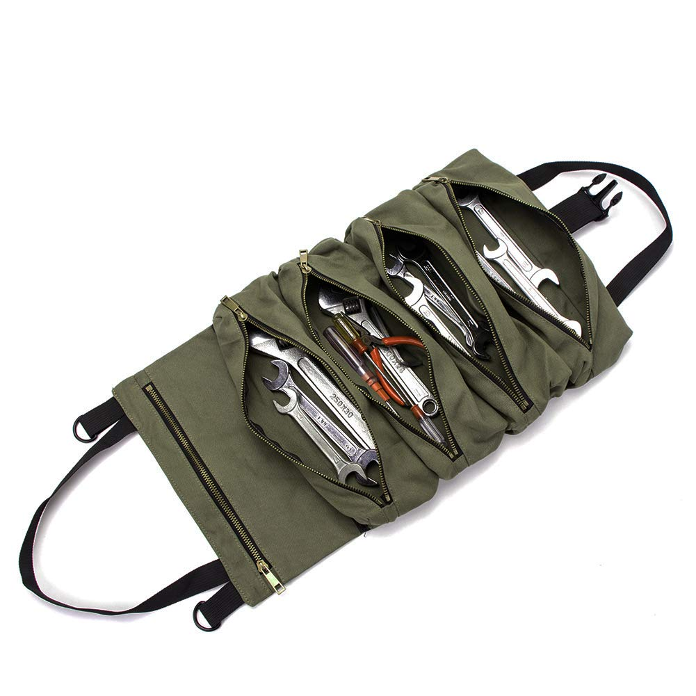Super Roll Tool Roll,Multi-Purpose Tool Roll Up Bag, Wrench Roll Pouch,Canvas Tool Organizer Bucket,Car First Aid Kit Wrap Roll Storage Case,Hanging Tool Zipper Carrier Tote, Car Camping Gear