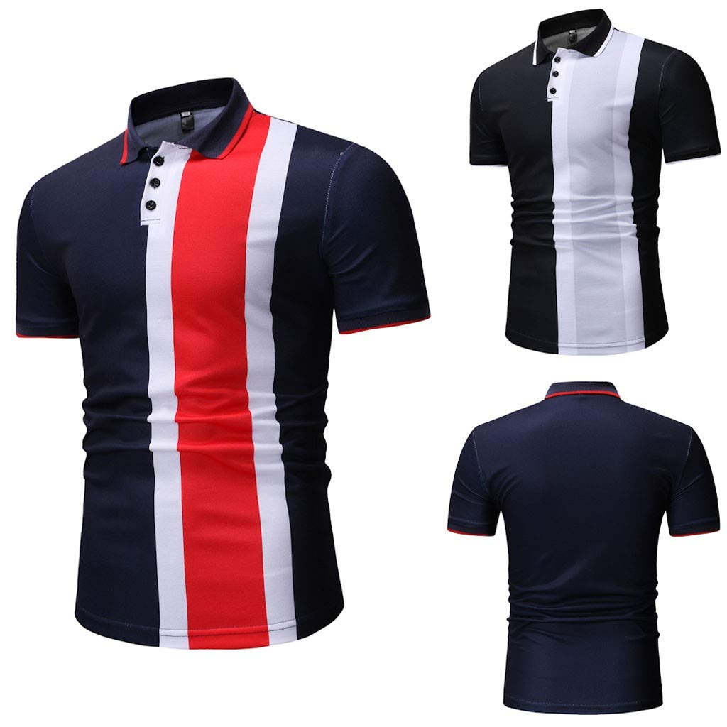 EOWEO Top,Men Spring Winter Stand Collar Fashion Casual Short Sleeve Spell Color Slim Top