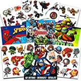 Super Hero Party Supplies Set -- 150 Temporary Tattoos Featuring Marvel Avengers, Spiderman and Teenage Mutant Ninja Turtles with Bonus Avengers Stickers