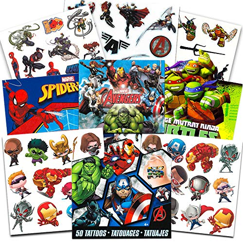 Super Hero Party Supplies Set -- 150 Temporary Tattoos Featuring Marvel Avengers, Spiderman and Teenage Mutant Ninja Turtles with Bonus Avengers Stickers                                ]()