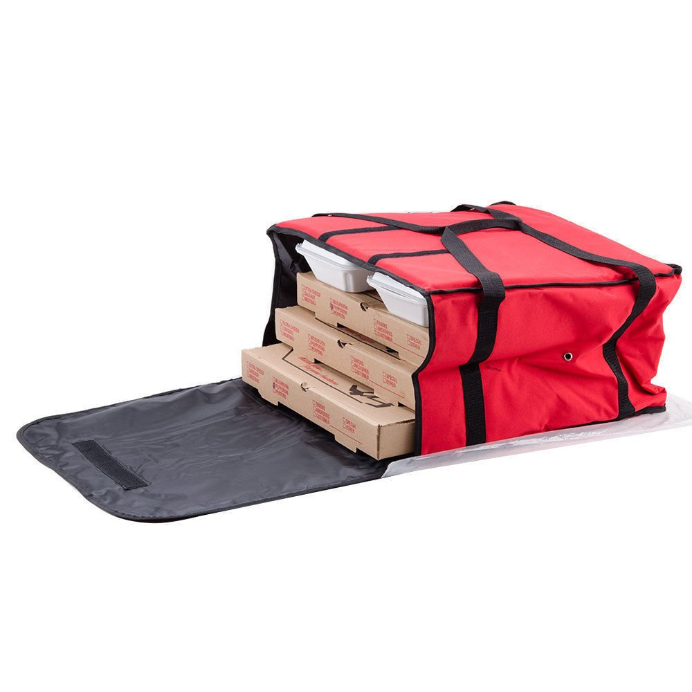 Choice 20'' x 20'' x 12'' Red Vinyl Insulated Pizza Delivery Bag - Holds up to (6) 16'' or (5) 18'' Pizza Boxes