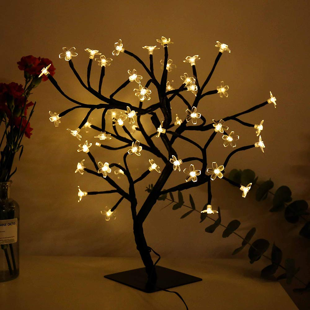 FuChsun Bonsai Blossom Lights Cherry Tree 48 LED Warm White Soft Crystal Flower Black Branches Smart Timer Battery Operated Moldable for Desk Top Ideal Décor Christmas Festival