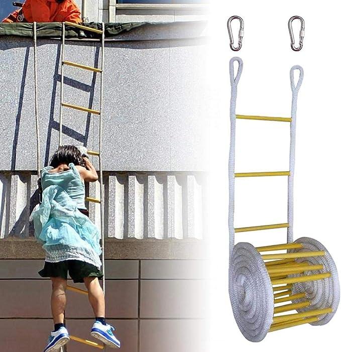 Escalera De La Escalera De Escape, Escalera De Cuerda, Escalera De Cuerda De Nylon De Madera Al Aire Libre con 2 Hebillas, Escaleras De Emergencia De Incendios para Niños Y Adultos Que