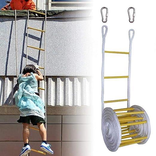 Schildeng Rettungsleiter mit Karabinerhaken f/ür Kinder und Erwachsene zur Flucht vor Fenstern und Balkonen