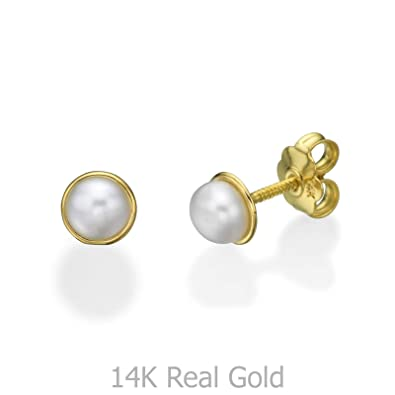 c8773f83d Image Unavailable. Image not available for. Color: 14K Fine Yellow Gold  Pearls Round Screw Back Stud Earrings for Girls Children ...