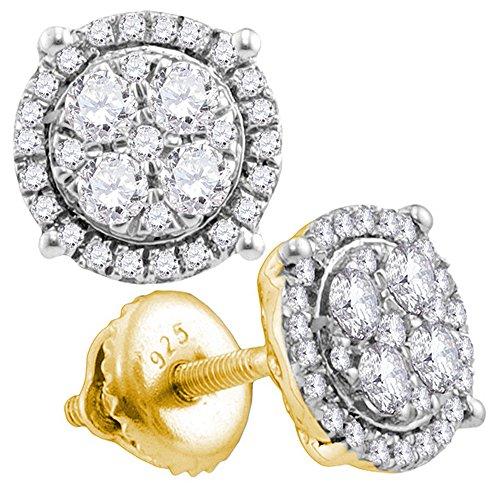 (10k Yellow Gold Round Diamond Circle Earrings Studs 1/2 Ct.)