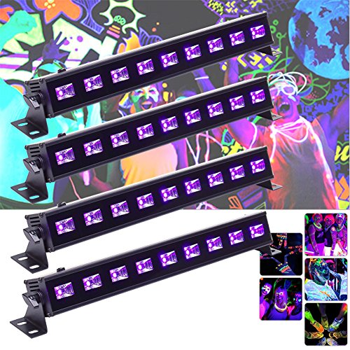 Stage Lighting Theatrical Light - U`King 4Pcs Black light Bar with 9LEDs x 3W UV LED for Glow Bar Neon Blacklight Party Stage Lighting