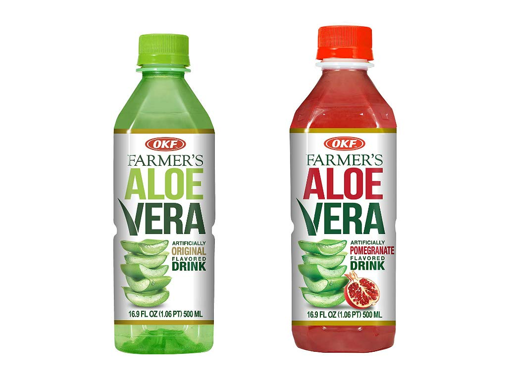 OKF Farmer's Aloe Vera Drink, Original and Pomegranate, 16.9 Fluid Ounce (Pack of 20 each)
