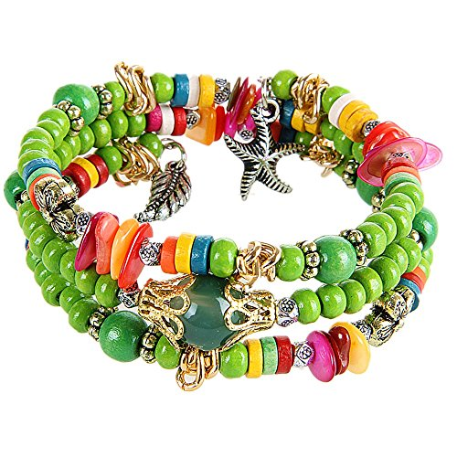 Coolla Fashion Style Green Beads Wristband Bracelet Wrap Bracelet Multi-layer Wristband Sl2695