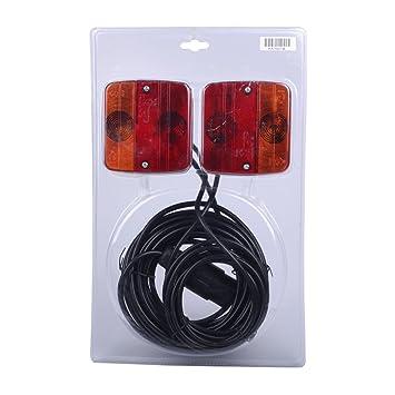 12V Bulb Magnetic Tail Light Set 12 Metre Cable Lamps Cluster