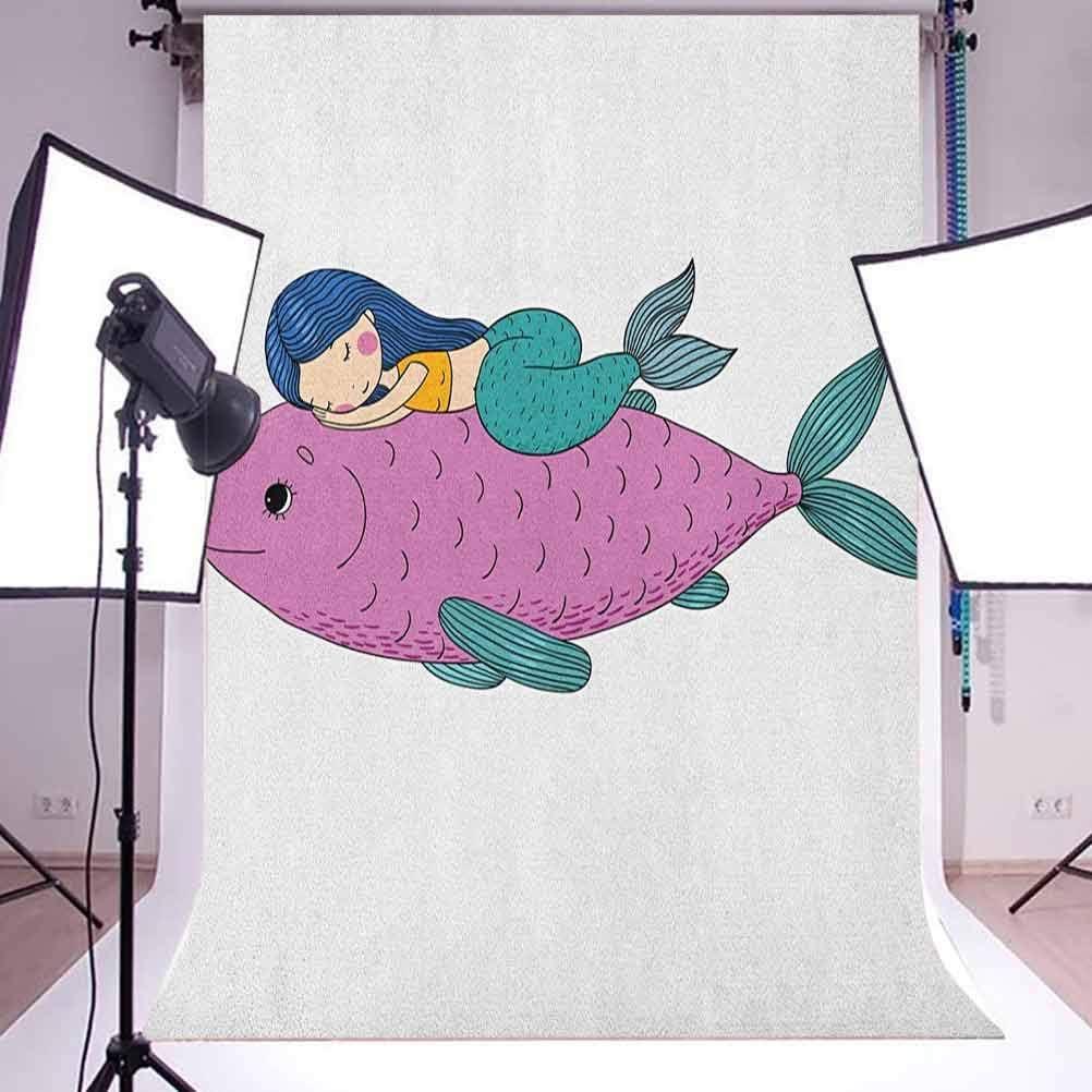 7x10 FT Mermaid Vinyl Photography Background Backdrops,Baby Mermaid Sleeping on Top Giant Fish Happy Best Friends Kids Nursery Theme Background for Photo Backdrop Studio Props Photo Backdrop Wall